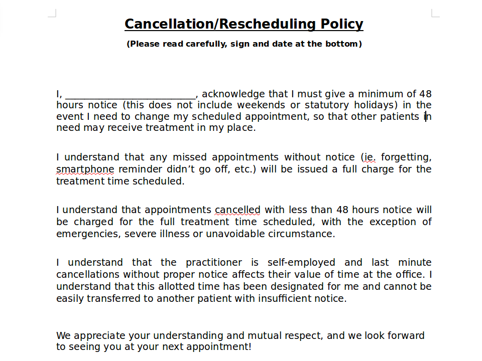 Cancellation Waiver